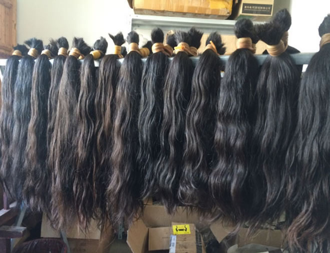 100 Unprocessed No Washed Brazilian Raw Hair Bulk Material 15 Inch